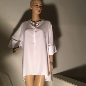 Banana Republic White Blouse Tunic Large